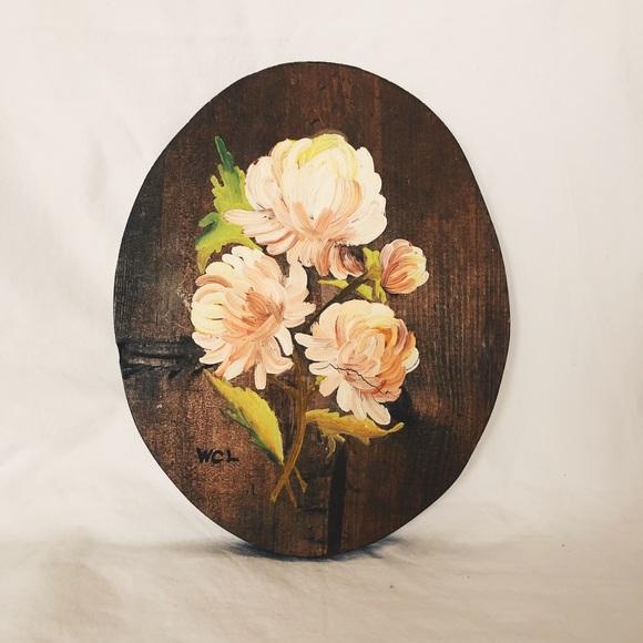 Vintage Floral Hand-painted Wooden Plaque Art